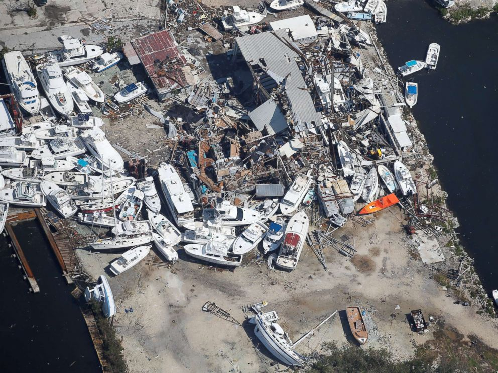 PHOTO: A destroyed marina is pictured in an aerial photo in the Keys in Marathon, Fla., Sept. 13, 2017.