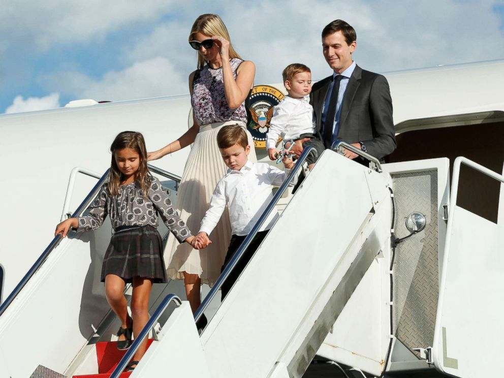 PHOTO: Ivanka Trump with her husband Jared Kushner and their children arrive at Morristown municipal airport, N.J., to spend a weekend with President Donald Trump in Bedminster, Sept. 15, 2017.