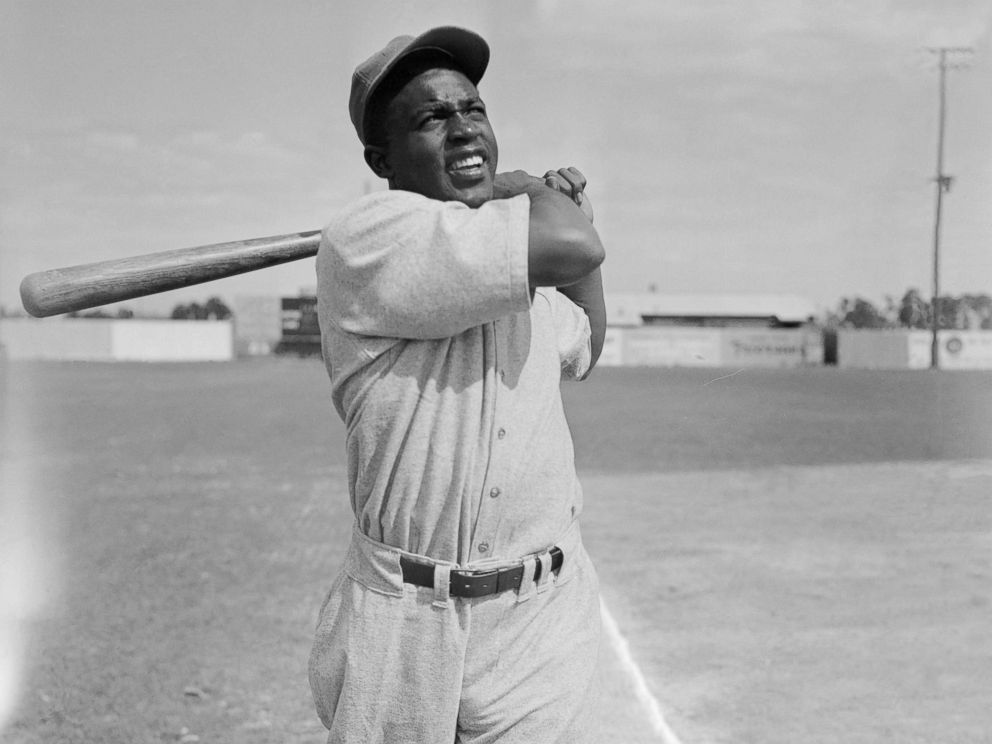 PHOTO: Jackie Robinsons stance at bat while while working out with Montreal Royals during training at Stanford, Fla.