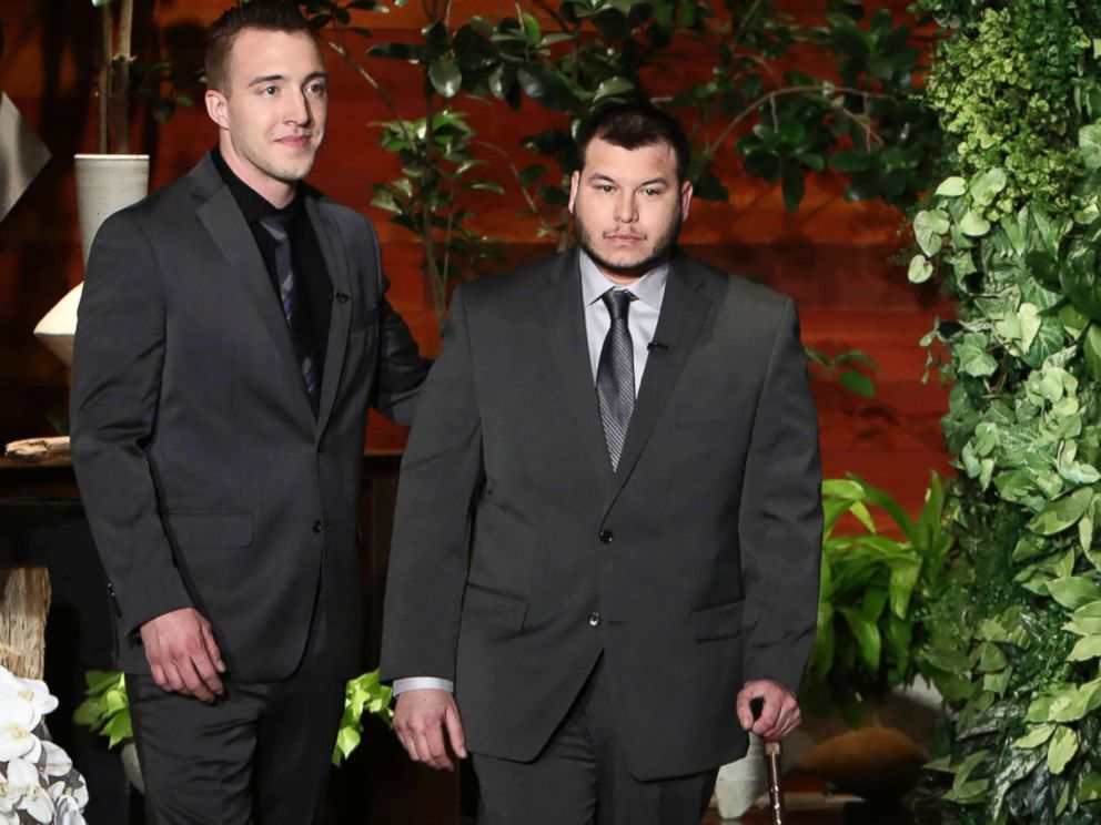 PHOTO: Jesus Campos, right, and Stephen Schuck appear at a taping of The Ellen DeGeneres Show at the Warner Bros. lot in Burbank, Calif., to talk about the mass shooting in Las Vegas, Oct. 17, 2017.