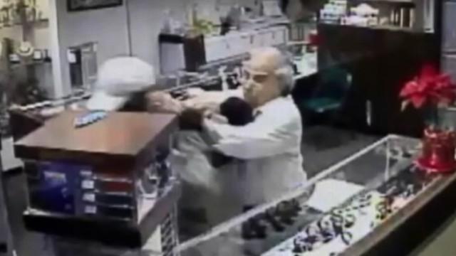 VIDEO: Chuck Lire sprung into action after suspects smashed a glass case in his California store.