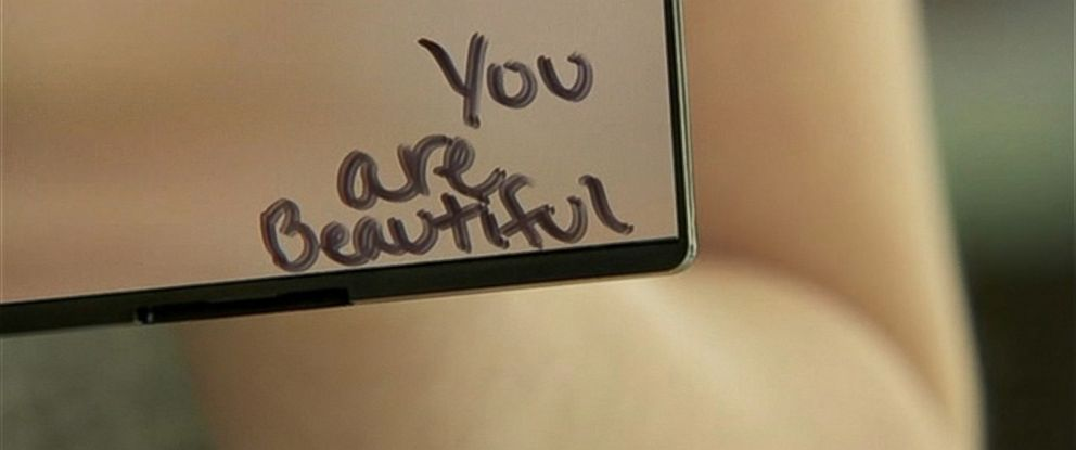 PHOTO: The compact mirrors that were given out to middle school girls in Rock Creek Middle School in Happy Valley, Oregon on March 19, 2015 include positive messages like this one.