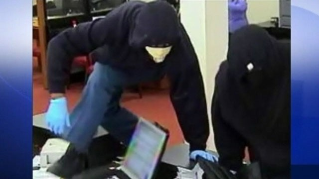 VIDEO: FBI says the three athletic robbers jump on bank counters before escaping on foot.