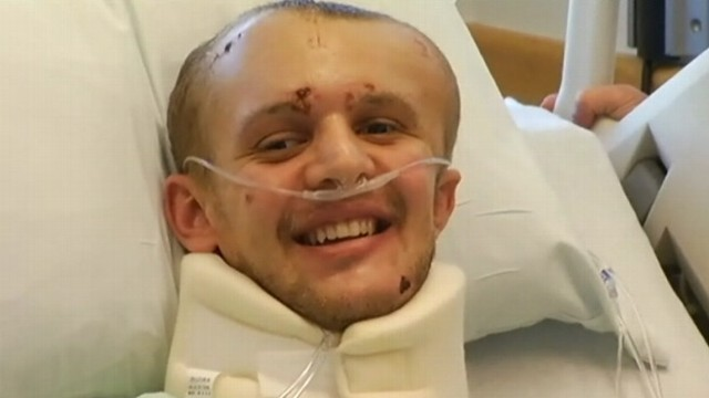VIDEO: Benjamin Pessah, 21, takes first steps on Thanksgiving, one month after getting shot in California.