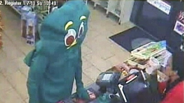 VIDEO: Man dressed as Gumby fumbles in costume during attempted robbery.