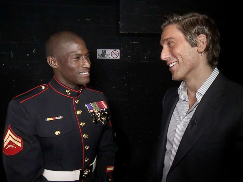 PHOTO: Retired U.S. Marine Cpl. Kionte Storey talks to ABC News David Muir at the annual Stand Up for Heroes benefit on Nov. 7, 2017.