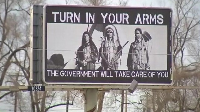 "VIDEO: Controversial sign in Colorado reads, ""Turn in your arms. The government will take care of you."""