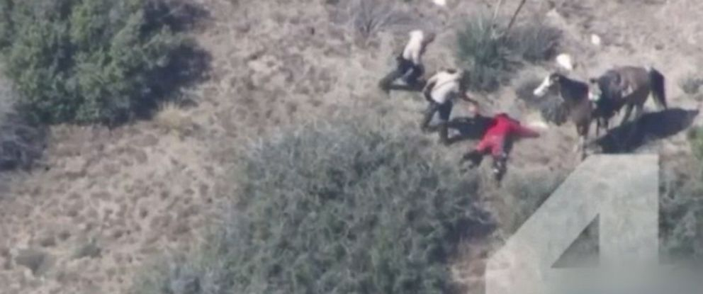 PHOTO: An investigation has been ordered after an arrest was caught on NBC Los Angeles NewsChopper4 video showing deputies beating suspect Francis Jared Pusok when they caught up to him following a desert chase.