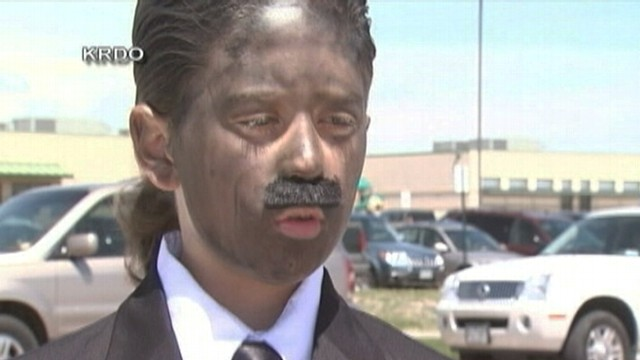 VIDEO: Sean King painted his face for portrayal of Martin Luther King Jr. at school.