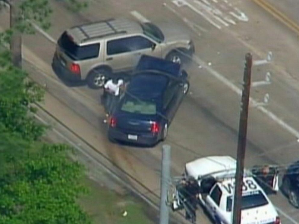 PHOTO: Aerial footage from KRIV in Houston, Texas shows the end of a high-speed police chase that culminated in the shooting of the driver on April 15, 2015.