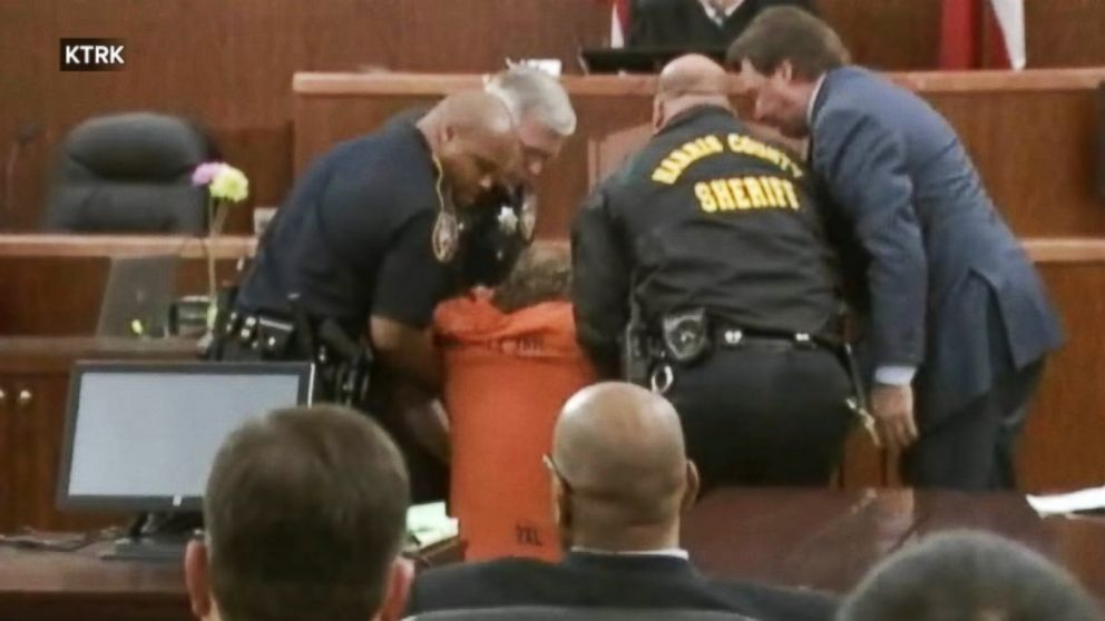 PHOTO: Ron Haskell is seen collapsing during a court appearance on July 11, 2014.