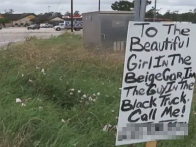 PHOTO: Adam Preslar from Montgomery County, Texas, posted a sign on the side of Highway 242 outside Houston in an attempt to locate a woman that he saw while passing an intersection.