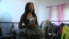 VIDEO: Texas designer's high-end fashion line includes a dress made of newspaper.