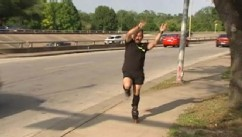 VIDEO: Juan Carlos, known as the &quot;dancing rollerblader,&quot; has been amusing locals for 15 years.