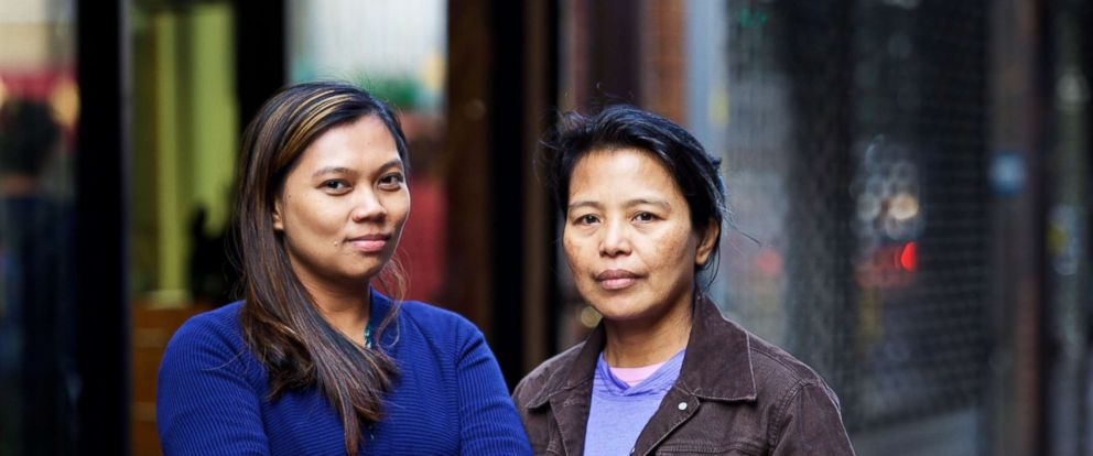PHOTO: Sherile Pahagas, left, and Edith Mendoza met through the Damayan Migrant Workers Association and found out theyd been employed as domestic worker for the same German couple. They are now suing their former employers.