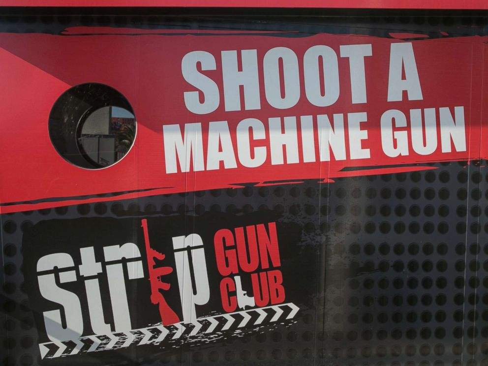 PHOTO: A storefront promoting the Strip Gun Club on South Las Vegas Blvd is viewed on June 7, 2016, in Las Vegas.