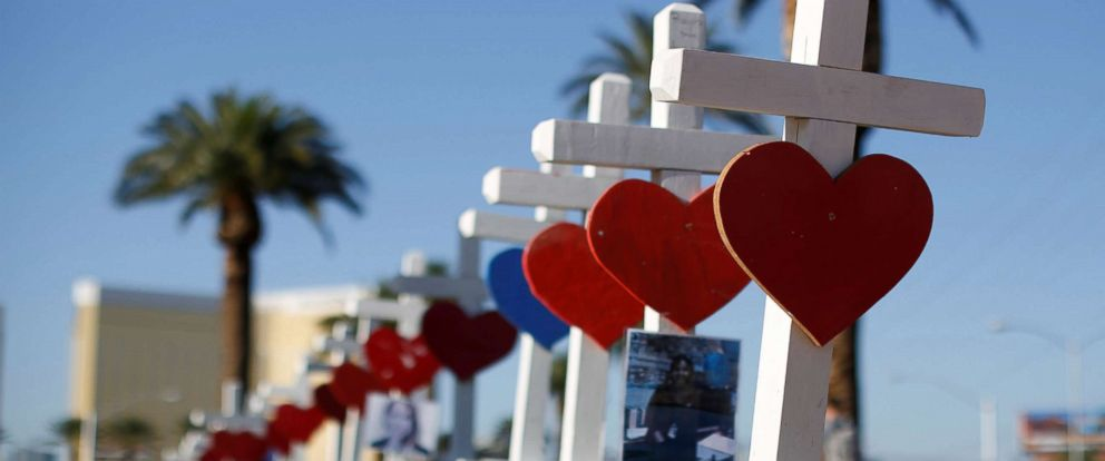 PHOTO: Some of the 58 white crosses set up for the victims of the Route 91 music festival mass shooting are pictured in Las Vegas, Oct. 5, 2017.