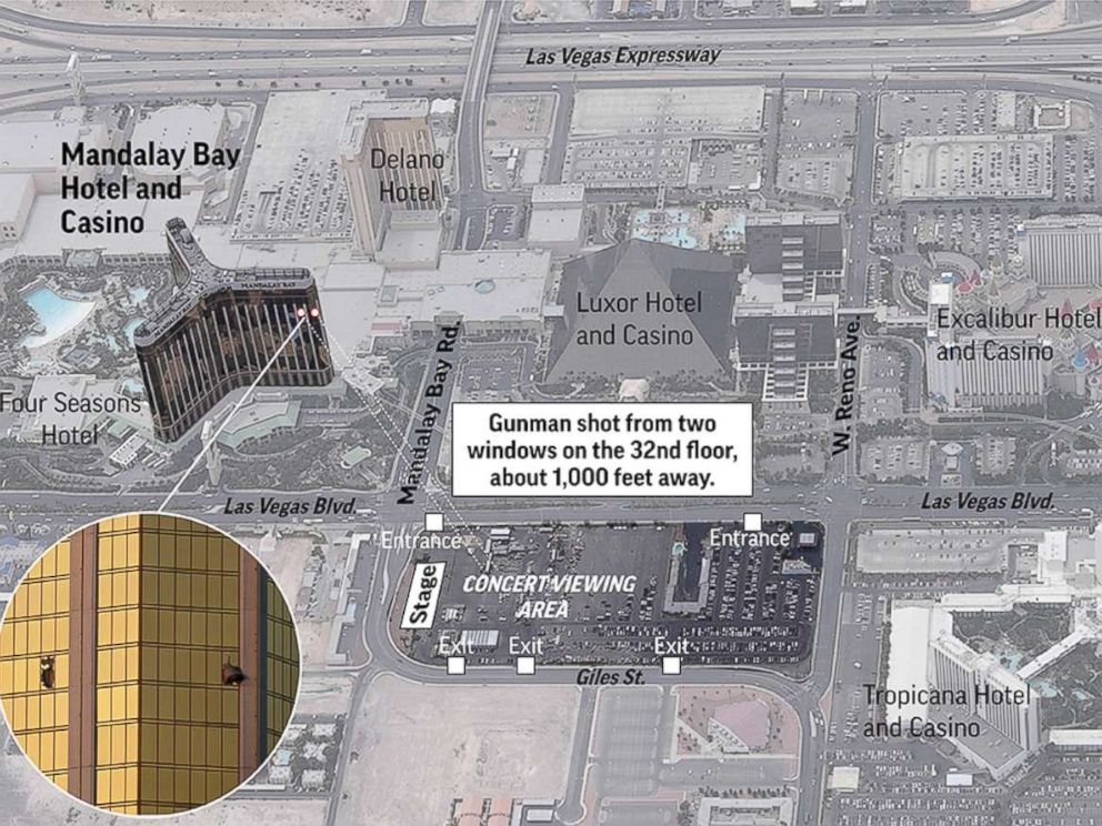 PHOTO: Map shows an aerial view of the Mandalay Bay Hotel and Casino, the surrounding areas and the vantage point the shooter had from the hotel.