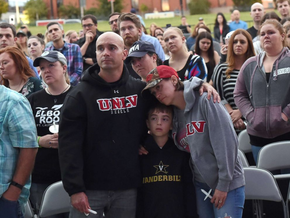PHOTO: People gather during a candlelight vigil for victims of the Las Vegas shooting at Ascend Amphitheater, Oct. 2, 2017, in Nashville, Tenn.