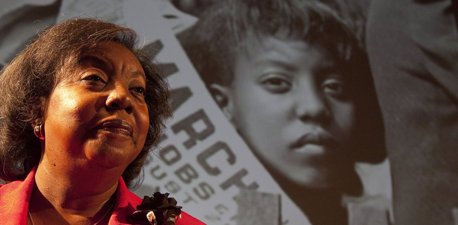 PHOTO: Edith Lee Payne stands in front of an image of herself at the age of 12, taken at the March on Washington after participating in a Black History Month program at the Detroit School of the Arts, Feb. 15, 2012.