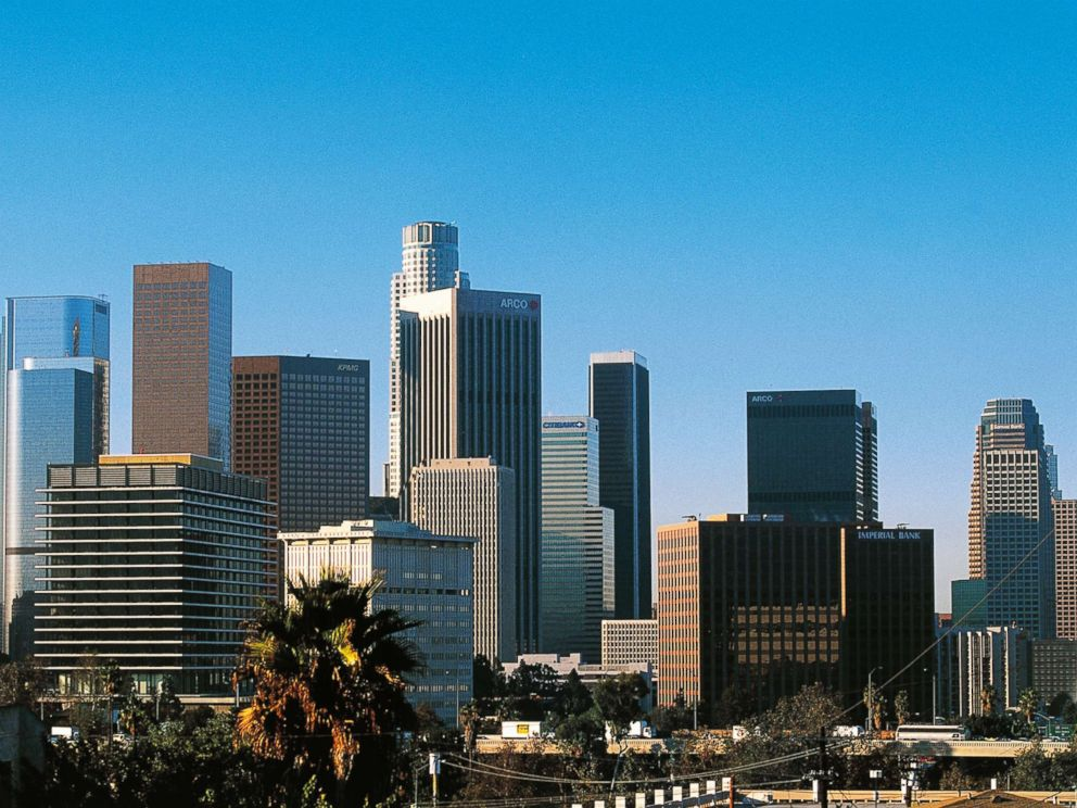 PHOTO: A view of the skyscrapers of downtown Los Angeles, the administrative and financial districts is captured.