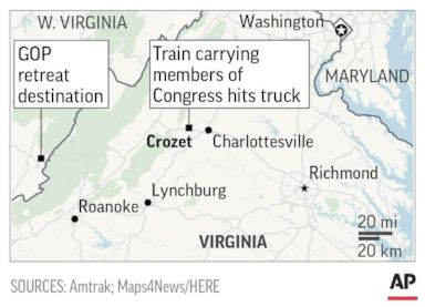 1 dead in accident involving train carrying GOP members of