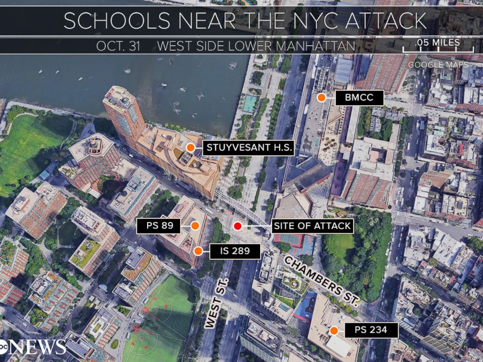 PHOTO: A map of schools in the vicinity of the New York City attack that occurred on Oct. 31, 2017.