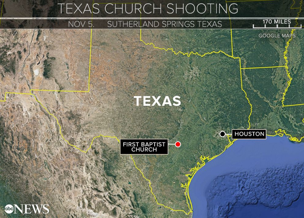 PHOTO: Sutherland Springs, Texas, was the scene of a church shooting, Nov. 5, 2017.