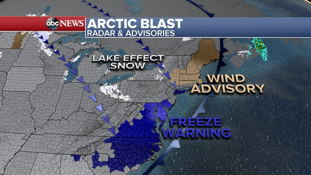 PHOTO: Map showing wind, snow and freeze warnings for the northeast U.S.