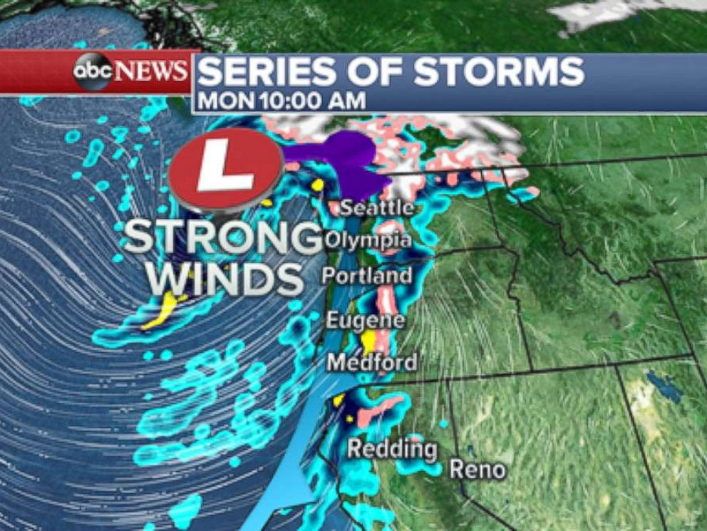 PHOTO: The first storm is currently bringing heavy rain, some mountain snow and strong winds to parts of the West Coast.