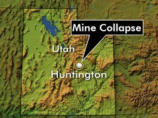 Figure 1: Map of Utah showing where the collapse mine is located.