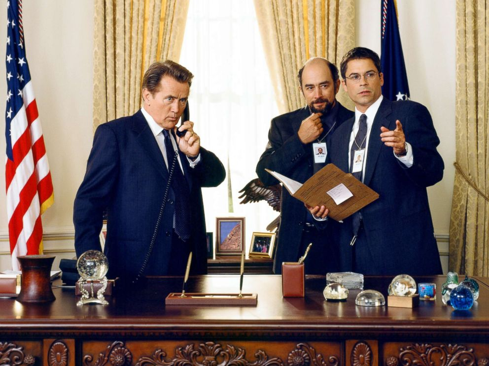 PHOTO: Martin Sheen, left, with Richard Schiff and Rob Lowe in a scene from The West Wing.