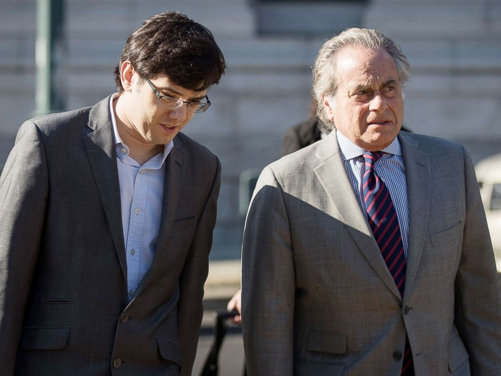 Martin Shkreli and attorney Benjamin Brafman arrive at the U.S. District Court for the Eastern District of New York