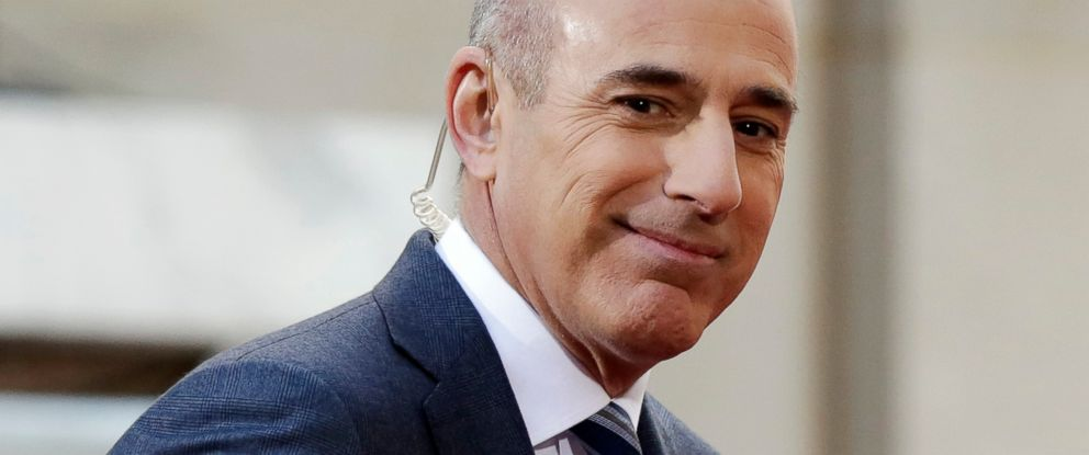 "PHOTO: In this April 21, 2016, file photo, Matt Lauer, co-host of the NBC ""Today"" television program, appears on set in Rockefeller Plaza, in New York."