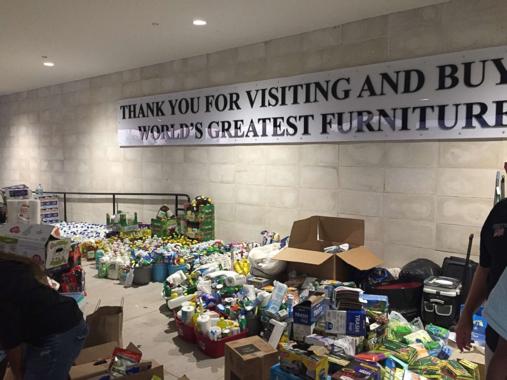 PHOTO: Supplies for evacuees inside the Mattress Mack stores in Houston.