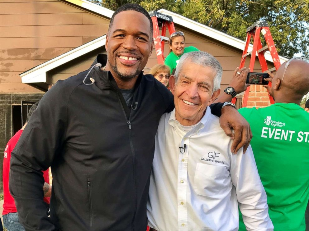 PHOTO: ABC News Michael Strahan meets with Mattress Mack Jim McIngvale, the Houston hero who opened the doors of his furniture store to anyone seeking shelter during Hurricane Harvey.