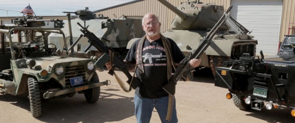 """PHOTO: Mel Bernstein, known as the """"Most Armed Man in the World,"""" claims to have over 4,000 weapons including military vehicles, bazookas, and machine guns."""