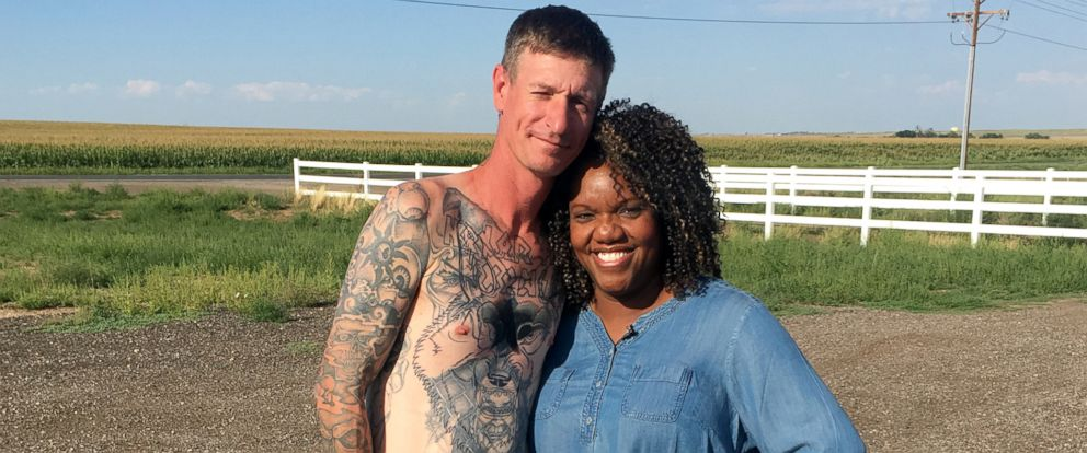PHOTO: Former skinhead Michael Kent had his Nazi swastika tattoos covered after being inspired by his parole officer Tiffany Whittier.