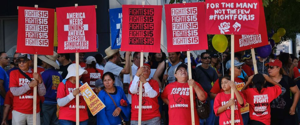 PHOTO: Union workers and minimum wage activists gather for a Labor Day rally in downtown Los Angeles, Sept. 4, 2017.