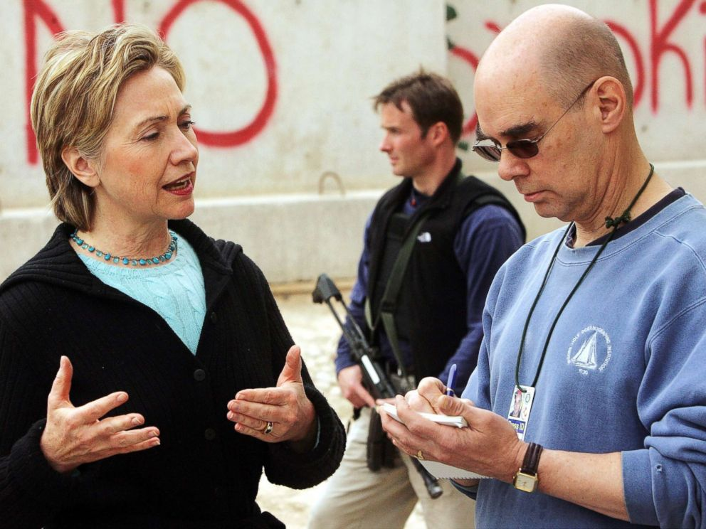 PHOTO: Sen. Hillary Clinton talks with Daily News National Editor Mark Mooney at Camp Fallujah, a Marine base outside of Fallujah, Iraq, Feb. 20, 2005.
