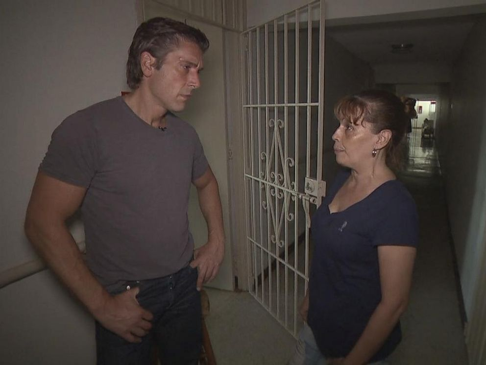 PHOTO: David Muir speaks to Lizbeth Vasquez Delgado from New York City who came to Puerto Rico to take care of her parents after Hurricane Maria came ashore the island.