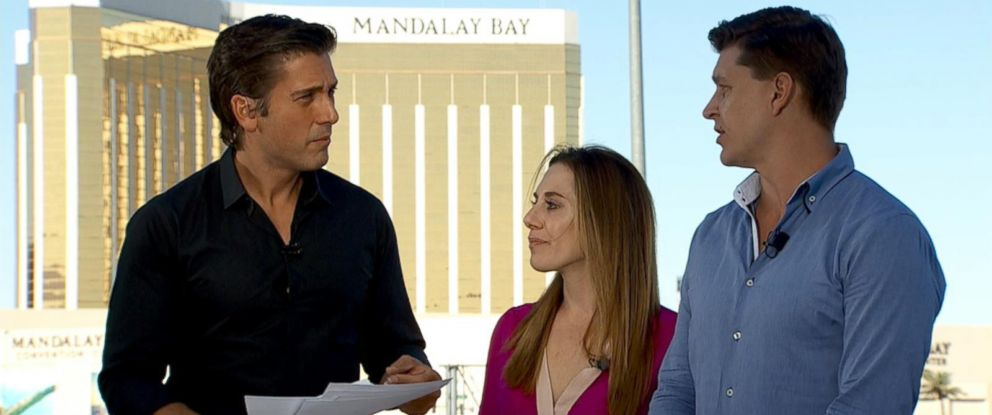 PHOTO: Amy and Keith Conrad, whose production company 3G put on the Route 91 Harvest Music Festival, describe to ABC News David Muir what they saw during Sundays deadly shooting in Las Vegas.