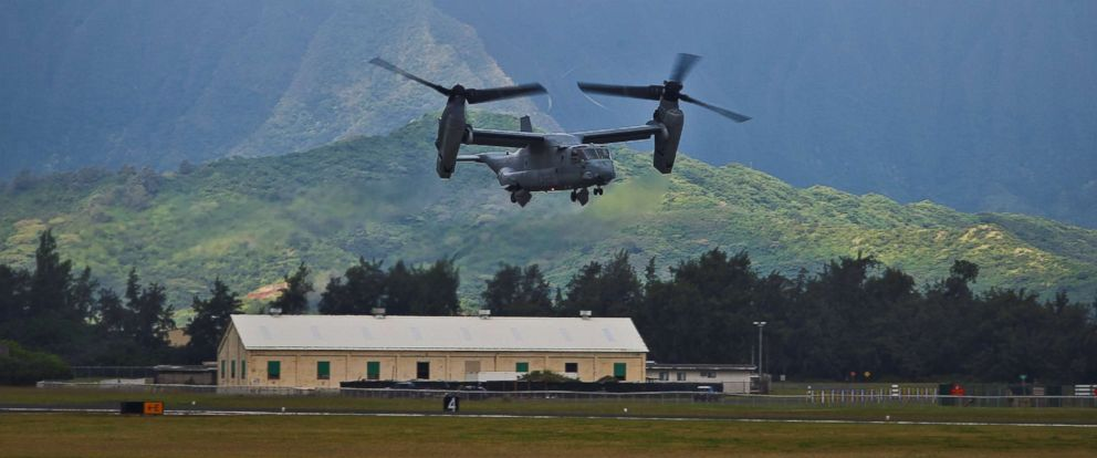 PHOTO: A U.S. MV-22B Osprey aircraft with takes off to begin a deployment to Australia in support of Marine Rotational Force - Darwin, from Marine Corps Base Hawaii, April 19, 2017.