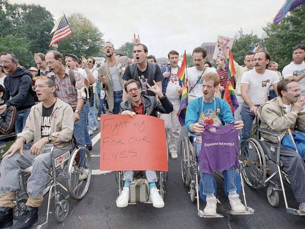 PHOTO: Terminally ill victims of Aids are pushed in wheelchairs as they participate in the National March on Washington for Lesbian and Gay Rights, Oct. 11, 1987.