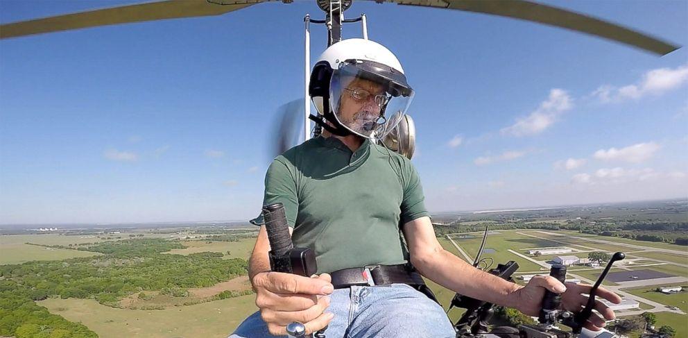 PHOTO: Doug Hughes flies his gyrocopter near the Wauchula Municipal Airport, March 17, 2015 in Wauchula, Fla.