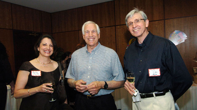 PHOTO: In this April 25, 2008 file photograph, Renee Marks, from left, Second Mile founder Jerry Sandusky, and Don Marks arrive at The Second Miles 19th Annual Art Auction at the Ramada Inn in State College, Pennsylvania.