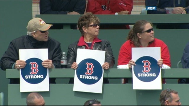 PHOTO: The Red Sox Nation turned out in force Saturday, April 20, 2013 in a defiant display of spirit after a week of terror, as shown in this screengrab from NESN (New England Sports Network).