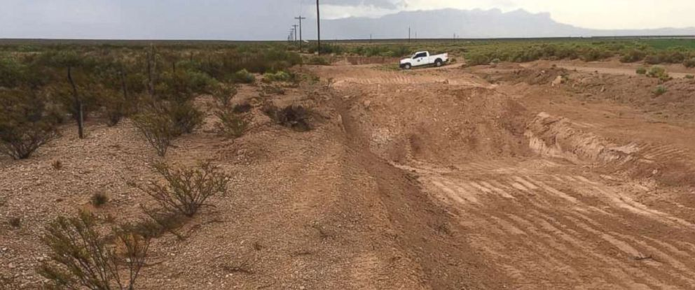 "PHOTO: Closeup shots of the gutted earth where News Mexico State Land Trust officials claim was being ""pilfered"" by unauthorized Texas roadworkers to repair a dusty byway."