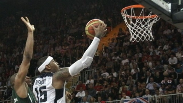 VIDEO: Carmelo Anthony and teammates outscore Nigeria in a 156-to-73 blowout.