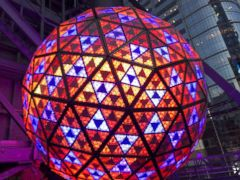 'PHOTO: The Waterford Crystal ball is lit before it is installed ahead of New Year's Eve in Times Square, New York, Dec. 27, 2017.' from the web at 'http://a.abcnews.com/images/US/nyc-ball-lit-red-abc-ps-171228_4x3_240.jpg'